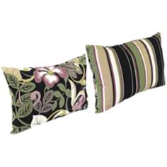 "Black Tan Grape 18"" Various Edge Outdoor Accent Pillow"