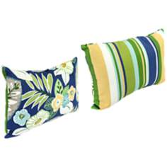 "Light Blue and Green 18"" Outdoor Edge Accent Pillow"