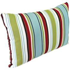 "Kiwi Red Blue 18"" Various Edge Outdoor Accent Pillow"