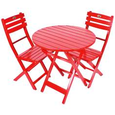 Tea Time 3-Piece Red Folding Outdoor Bistro Set