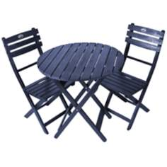Tea Time 3-Piece Navy Folding Outdoor Bistro Set