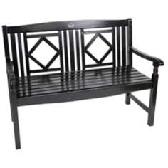 Diamond Back Outdoor Black Solid Hardwood Bench