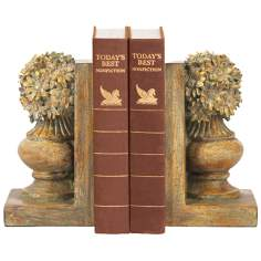Set of 2 Floral Urn Antique Bookends