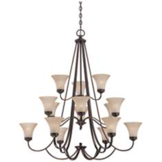 "Quoizel Aliza 15-Light 43"" Wide Bronze Chandelier"