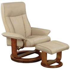 Euro Design Tan Cobblestone Swivel Recliner and Ottoman