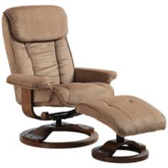 Euro Design Mocha Swivel Recliner and Ottoman