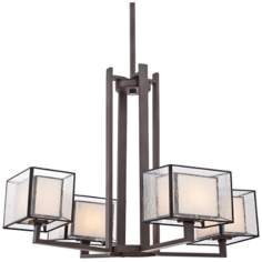 "Quoizel Ferndale 4-Light 26"" Wide Bronze Chandelier"