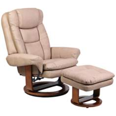 Euro Stone Bonded Leather Swivel Recliner with Ottoman