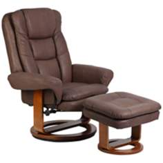 Euro Chocolate Bonded Leather Recliner and Ottoman