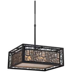 "Quoizel Kenner 4-Light 17"" Wide Mystic Black Pendant"