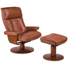 Oslo Saddle Top-Grain Leather Recliner and Ottoman