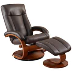 Oslo Shiatsu Massage Hickory Recliner with Ottoman