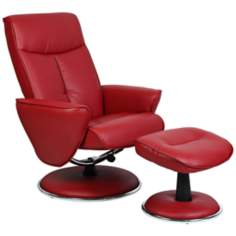 Red Bonded Leather Swivel Recliner with Ottoman