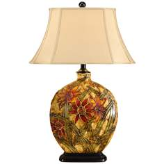 Wildwood Starflower Painted Porcelain Table Lamp