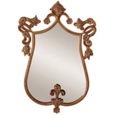 "Howard Elliott 31"" High Antique Gold Wall Mirror"