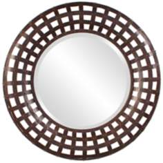 "Howard Elliott 36"" Wide Round Rust Metal Wall Mirror"