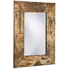 "Howard Elliott 36"" High Birch Bark Wood Wall Mirror"
