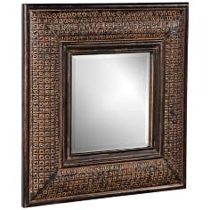 "Howard Elliott 23"" Square Textured Wall Mirror"