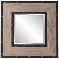 "Howard Elliott 24"" Square Natural Wood Wall Mirror"