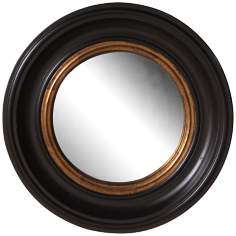 "Howard Elliott Black Lacquer 21"" Round Wall Mirror"
