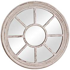"Howard Elliott 35"" Round Stone Gray Wall Mirror"