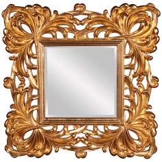 "Howard Elliott 39"" Square Bright Gold Lead Wall Mirror"