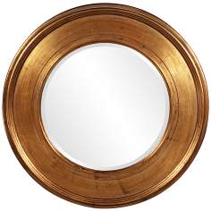 "Howard Elliott Bright Gold Lead 37"" Round Wall Mirror"