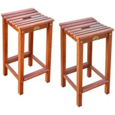 Ridge Set of 2 Outdoor Hardwood Bar Stools
