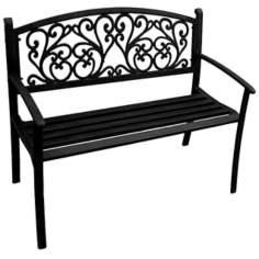 Black Scroll Steel Outdoor Bench