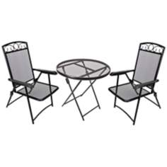 Folding Chat Black 3-Piece Outdoor Bistro Set