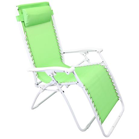 Zero Gravity Grass Green Outdoor Chaise Lounge
