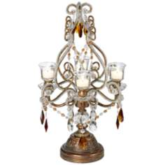 "Bronze, Gold and Amber 24 1/2"" High Candelabra"