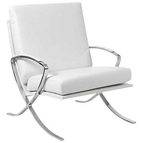 Pietro Stainless Steel and White Leather Lounge Chair