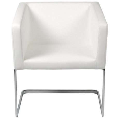 Ari White Leatherette and Chrome Lounge Chair