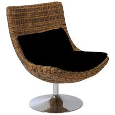 Fenia Rattan and Chrome Swivel Chairs