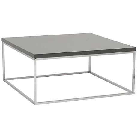 Teresa Square High-Gloss Gray Coffee Table
