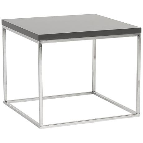 Teresa Square High-Gloss Gray Side Table