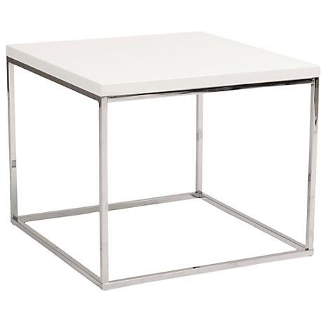 Teresa Square High-Gloss White Side Table