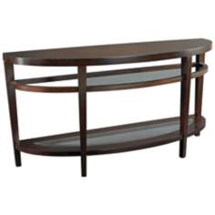 Urbana Semi-Circle Glass and Wood Sofa Table