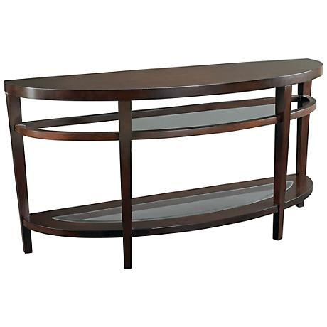 Hammary Urbana Semi-Circle Glass and Wood Sofa Table