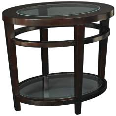 Urbana Oval Glass Cherry End Table