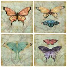 Hindostone Set of 4 Vintage Butterflies Coasters