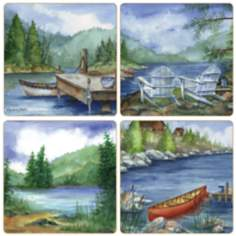 Hindostone Set of 4 Lakeside Scenes Coasters