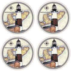 Hindostone Set of 4 Montauk Point Lighthouse Coasters