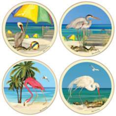 Hindostone Set of 4 Beach Birds Coasters