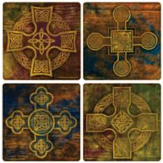 Hindostone Set of 4 Celtic Crosses I Coasters