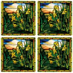 Hindostone Set of 4 Daffodils Window Coasters