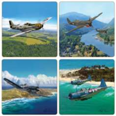 Hindostone Set of 4 War Planes Coasters
