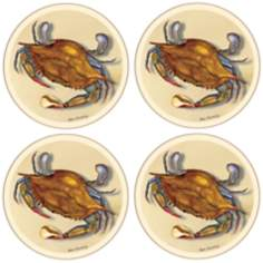 Hindostone Set of 4 Blue Crab Coasters