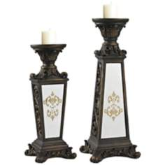 Set of 2 Damask Mirrored Bronze Candleholders